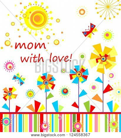 Mom with love, Childish applique with abstract colorful flowers