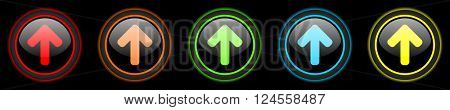 up arrow colored web icons set on black background