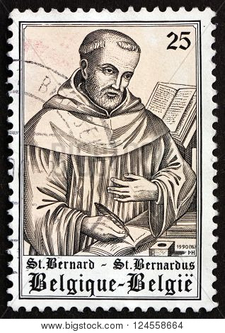 BELGIUM - CIRCA 1990: a stamp printed in the Belgium shows St. Bernard 900th Birth Anniversary circa 1990