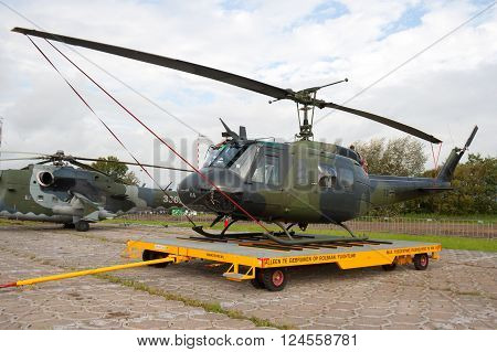 LEEUWARDEN, NETHERLANDS - SEP 17, 2011: German Army UH-1D Huey helicopter.