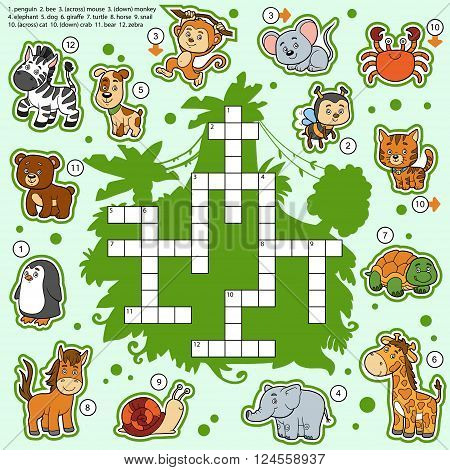 Vector Color Crossword, Education Game About Animals