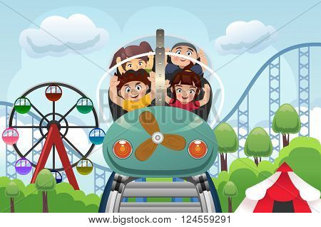 A vector illustration of happy children playing roller coaster in a amusement park