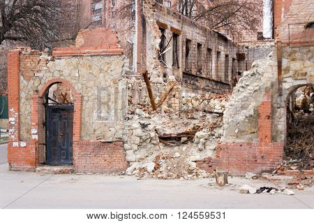 LUGANSK , UKRAINE - MARCH 25, 2016:  The destroyed building after a mortar attack.
