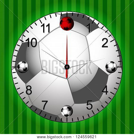 Football Soccer Clock with Green Football Field Background