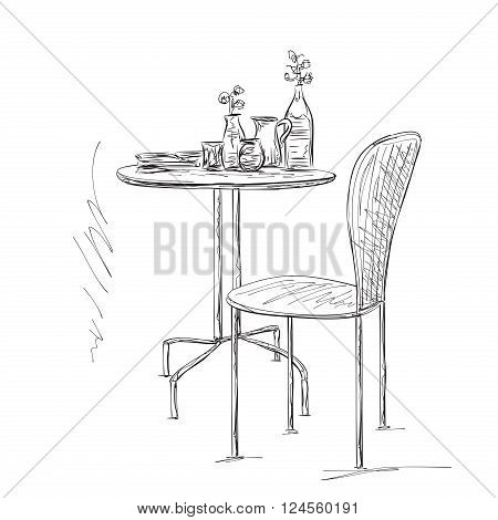 Furniture in summer cafe. Hand drawn chair and table sketch