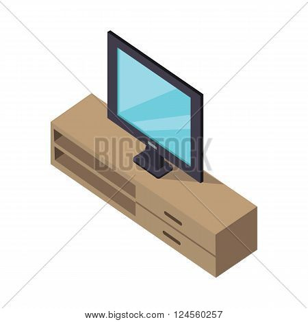 TV and cabinet under. Isometric design. Television on modern furniture cabinet isolated white bakcground, flat screen watching tv icon, 3d isometric interior furniture for plasma. Vector illustration