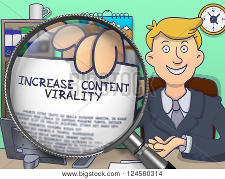 Increase Content Virality. Successful Businessman in Office Workplace Showing a Paper with Text through Magnifier. Multicolor Modern Line Illustration in Doodle Style.