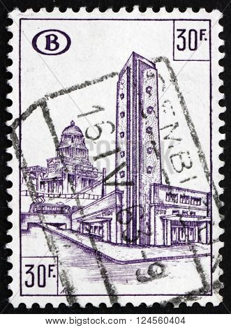 BELGIUM - CIRCA 1953: a stamp printed in the Belgium dedicated to South Station Brussels circa 1953