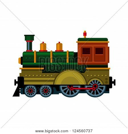 Retro Train. Steam Locomotive Icon. Vector illustration