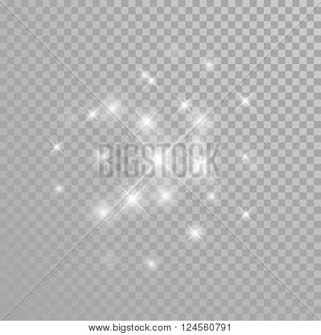 Vector glitter star burst light effect on transparent background.