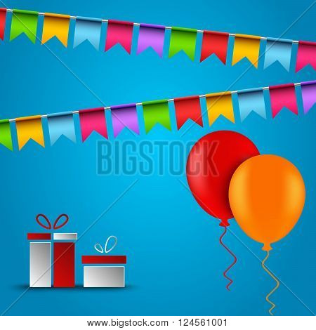 Birthday card with flags balloons and gifts vector eps 10