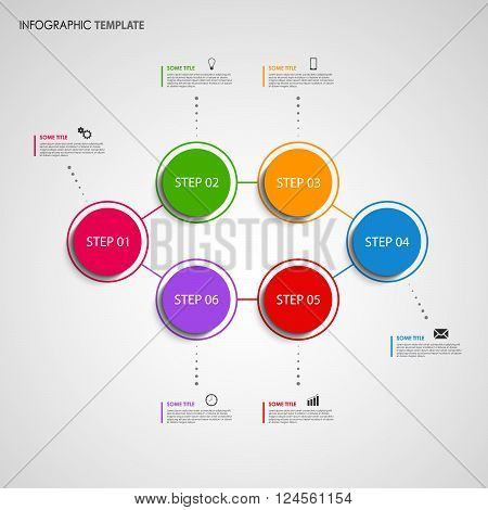 Info graphic with colored design round pointer template vector eps 10