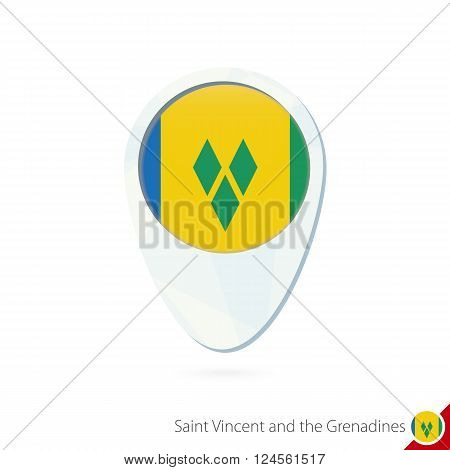 Saint Vincent And The Grenadines Flag Location Map Pin Icon On White Background.