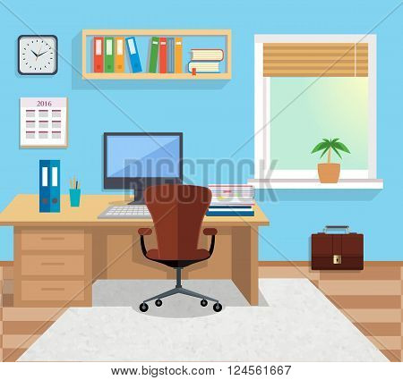 Modern office interior with designer desktop in flat design. Interior office room. Office space. Vector illustration. Working place in office interior workplace