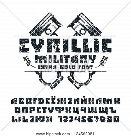 Square sanserif cyrillic font and numeral with shabby texture. Isolated on white background