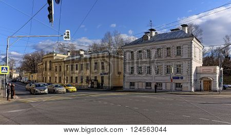 MOSCOW, RUSSIA - MARCH 14, 2016: Former home of the clergy Stephen's Church a monument of architecture building 1891 Nikoloyamskaya 4 and former outbuilding manor Batasheva Nikoloyamskaya 6