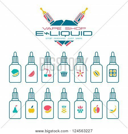 Vape shop e-liquid flavors icons set in flat style. Color print on white background