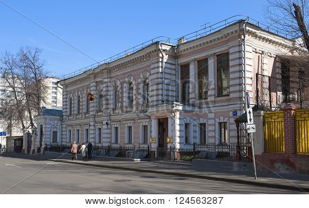MOSCOW, RUSSIA - MARCH 28, 2016: Embassy of the Democratic Socialist Republic of Sri Lanka in the Russian Federation street Shchepkina Building 24 the former estate of merchants Bolotnov style eclectic 19th century