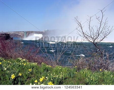Niagara falls and bridge in spring 4 May 2003 Canada