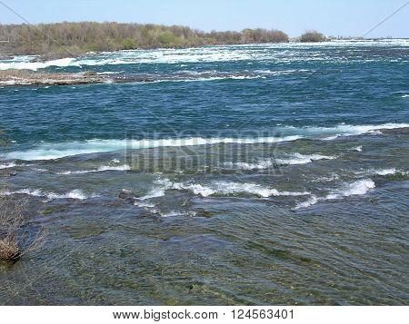 Niagara River to the waterfalls in spring 4 May 2003 Canada