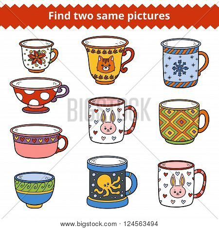 Find Two Same Pictures, Vector Set Of Dishes