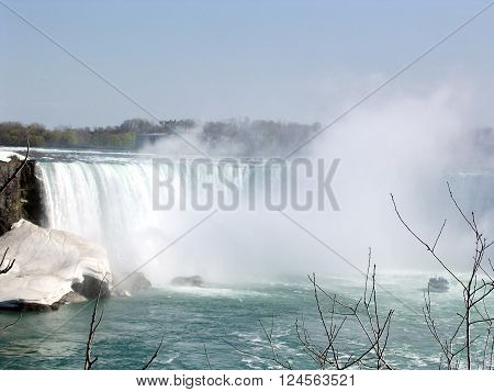 Tourist ship to Canadian Niagara Falls in spring 4 May 2003 Canada