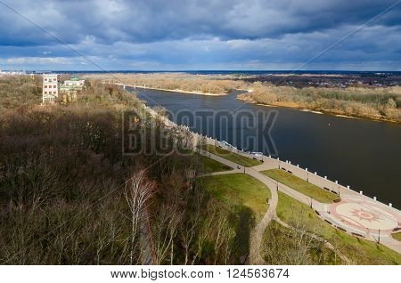 Top view of the palace and park ensemble and the embankment of the river Sozh Gomel Belarus