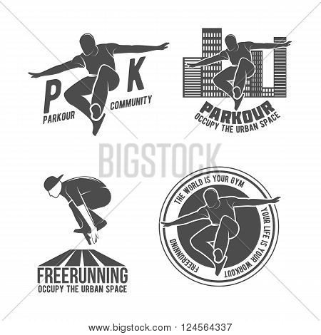 Set of Parkour icons, badges, logo, design elements. Free running, youth, sport and lifestyle concept.Parkour tricks extreme sport people vector silhouette. City sport parkour human pose. Parkour jump