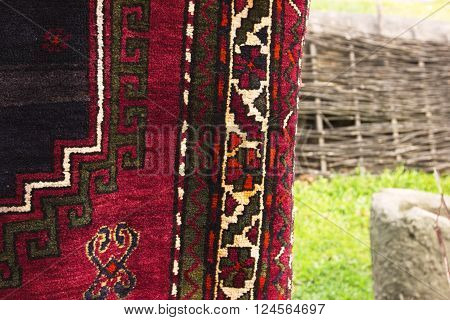 Traditional Georgian carpet. Carpets with typical geometrical patterns are among the most famous products of Georgia.