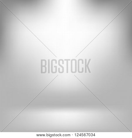 Empty Studio. Light Gray Abstract Background with Radial Gradient Effect. Spotlights Blurred Background. Flat Wall and Floor in Empty Spacious Room Interior for Your Products