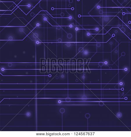 Modern Computer Technology Blue Background. Circuit Board Pattern. High Tech Printed Circuit Board