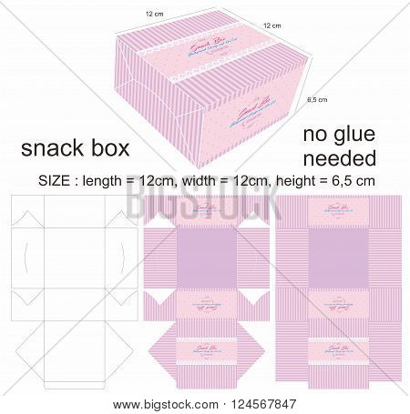 Pink and Purple Minimalist Snack Box and also Die Cut