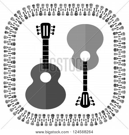 Set of Different Acoustic Guitars Silhouettes Isolated on White Background. Musical Pattern.