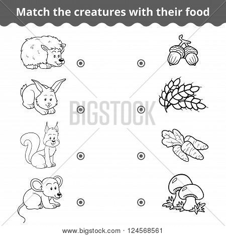 Matching Game For Children, Forest Animals And Favorite Food