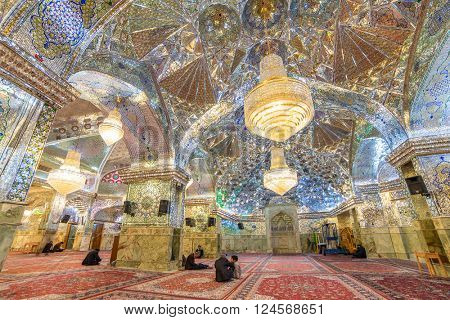Shiraz, Iran - December 24, 2015: Interior of Shah-e-Cheragh Shrine and mausoleum (Mirror mosque) in Shiraz, Iran