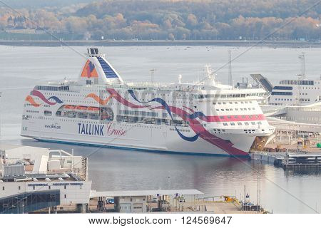 Tallinn, Estonia - December 19, 2015: View of the passenger port, docks and ships in Tallinn. Sea Port of Tallinn is one of the biggest in the Baltic Sea.