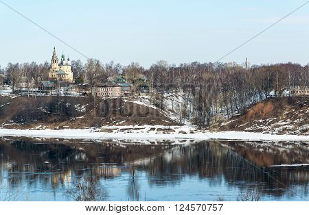 View of the left bank of the Volga River in the city of Tutaev, Russia