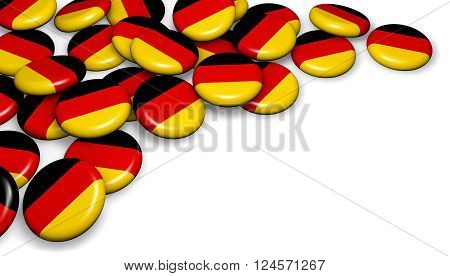 Germany flag on badges background image for German national day events holiday memorial and celebration 3D illustration with copyspace.