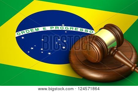 Brazil law legal system and justice concept with a 3D rendering of a gavel and the Brazilian flag on background.