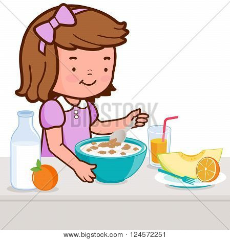 A girl is having her breakfast of cereal, milk, juice, and fruits.