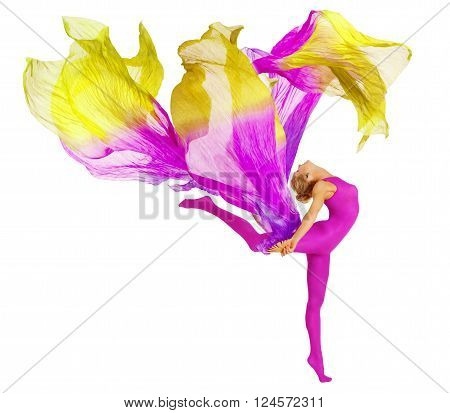 Acrobat Dancing With Fabric Flexible Woman in Leotard White Isolated Gymnastics Dance