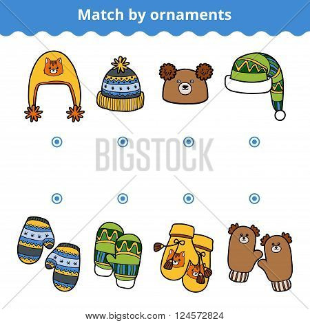 Matching Game For Children, Match The Mitten And Hats By Ornaments