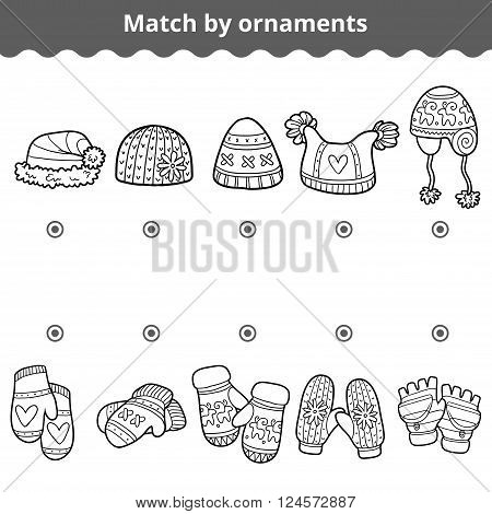 Matching game for children education game. Match the mitten and hats by ornaments