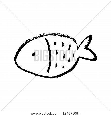 Isolated Fish hand drawn ink vector icon