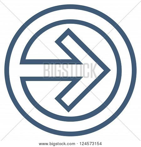 Import vector icon. Style is thin line icon symbol, blue color, white background.