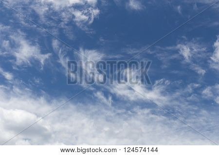 Blue sky with windy patterned clouds during the day without the sun