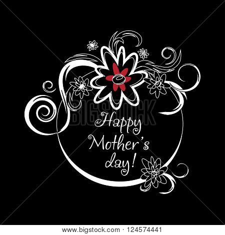 Vintage Mothers Day Label On Chalkboard. happy Mothers day card. Vector Mothers day badge