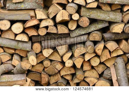 A pile of firewood stacked in natural light