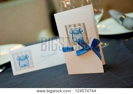 Menu postcard on a table during the wedding or christening