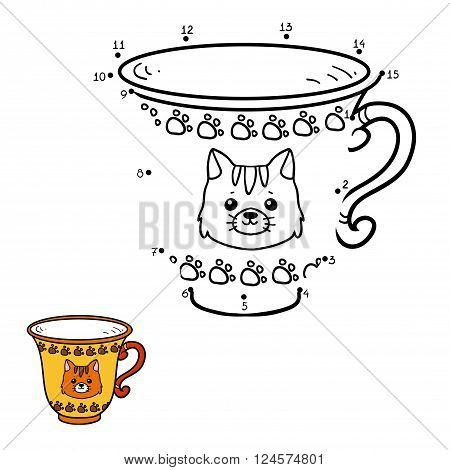 Numbers Game For Children. A Mug With A Cute Cat